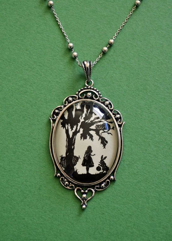 Alice in Wonderland Necklace, pendant on chain by tinatarnoff  on Etsy