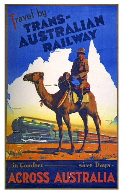 Travel by Trans-Australian Railway. #vintage #travel #posters #1930s