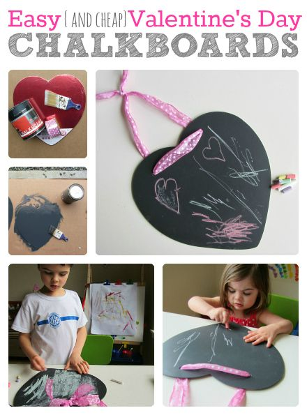 An easy-to-create heart chalkboard. The blog post describes using it for Valentine's day, but you can use it around the house any time of the year or in the classroom for a note to the class or a reminder. Super cute and easy!