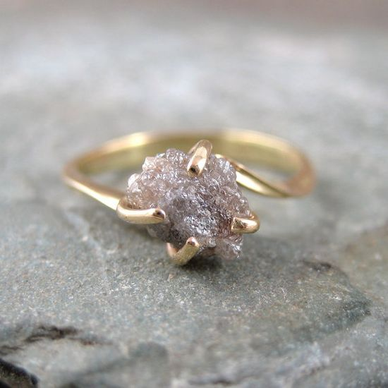 Raw Uncut Rough Diamond Engagement Ring  14K Yellow by ASecondTime, $495.00