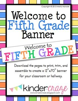 FREE! Welcome to Fifth Grade Banner