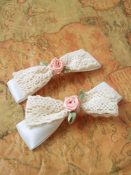 Handmade Bow Hair Accessory with Roses & Lace / Ali Express