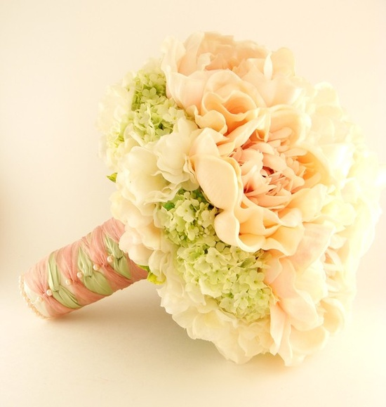 Hand-Tied Silk Bridal Bouquet - Real Touch Peonies, Real Touch Hydrangea, Silk Viburnum