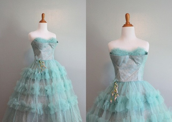 50s Prom Dress / 50s Strapless Shelf Bust Party Dress
