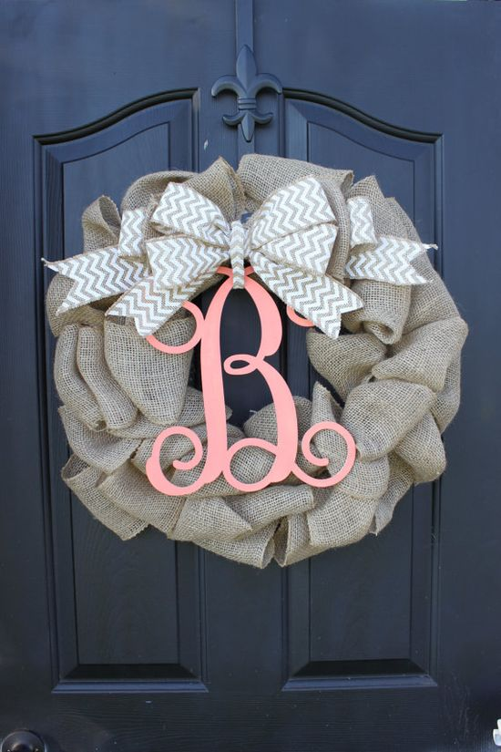 Burlap Wreath - Etsy Wreath - Summer wreaths for door  - Door Wreath - Monogram wreath via Etsy