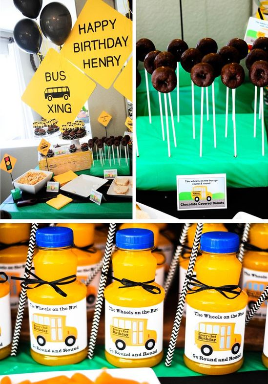 Adorable Wheels on the Bus Themed Birthday Party with Lots of GREAT IDEAS via Kara's Party Ideas Kara'sPartyIdeas.com #BackToSchool #Teacher #SchoolBus #Party #Ideas #Supplies #wheelsonthebus