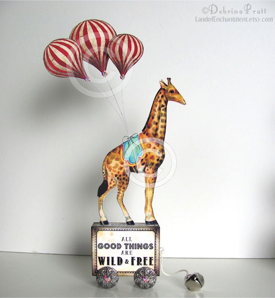 Circus Hot Air Balloon Giraffe Original Collage Pull Toy All GOOD things are WILD and FREE vintage altered art block. $52.00, via Etsy.