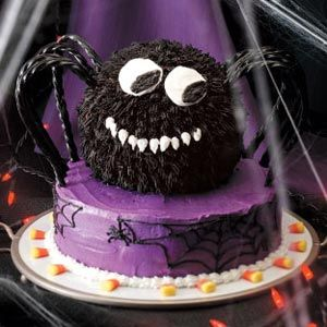Spooky Spider Cake Recipe ,,, Get ready to wow the crowd with this appetizing arachnid. By using different frosting techniques and traditional Halloween candy, you too can create this fun creepy crawler!