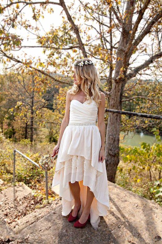 Bohemian Wedding Dress with High Low Hem  by thepeppermintpretty, $775.00