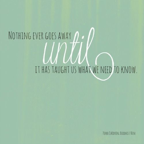 """Nothing ever goes away until it has taught us what we need to know."" -"