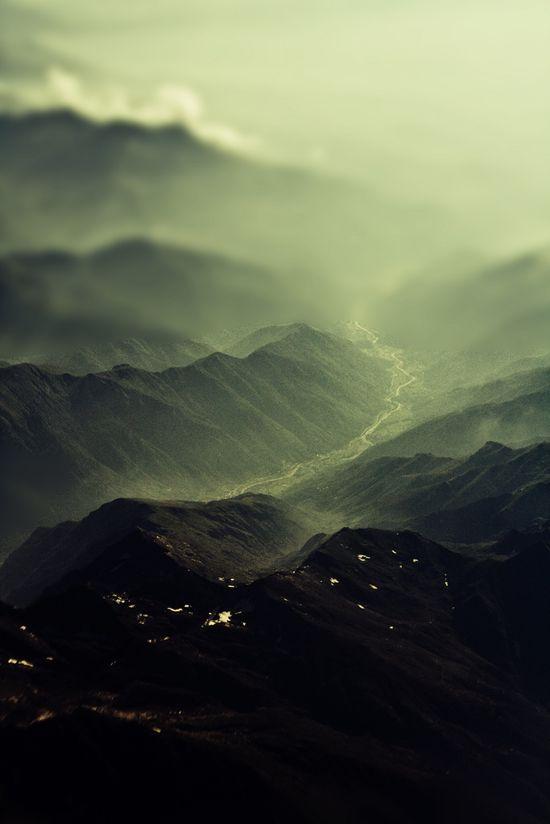 green mountains. (Aerial/Tilt-shift photography)