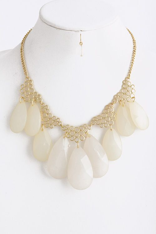 Circlet Teardrop Statement Necklace
