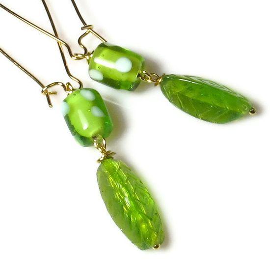 Green Leaf Earrings, Everyday Earrings. $9.00, via Etsy.