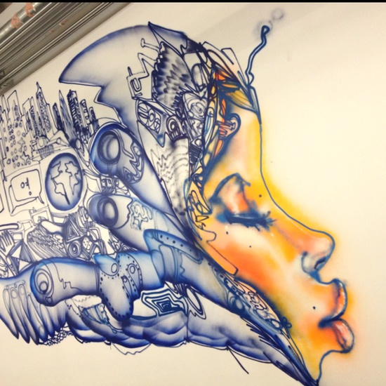 Amazing graffiti art inside Facebook HQ