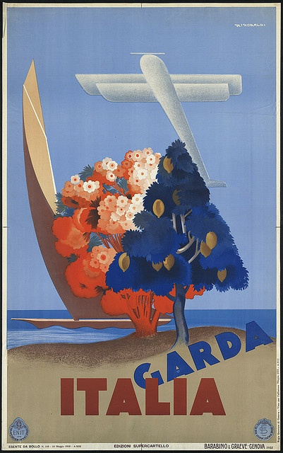 'Italia Garda', 1935. This is very abstract, honestly what on earth are we meant to expect to see in Garda based on this?! #travel #poster #italy