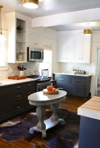 Dark bottom cabinets, white uppers.
