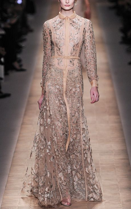 Valentino Tulle Illusione Long Sleeve Embroidered Gown at Moda Operandi