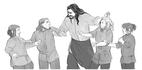 Thorin breaking up a fight with Fili, Kili, and some other Dwarves Oh, poor Fili. xD