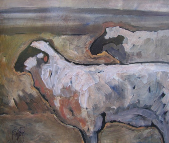 Two Sheep / acrylic painting / Peggy Judy