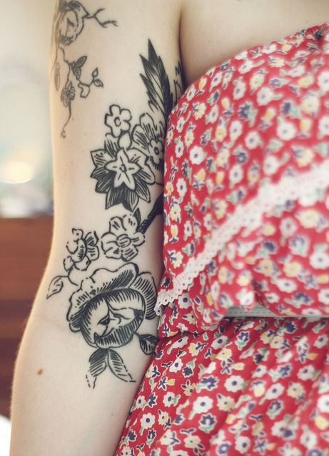 rose engraving-inspired tattoo. candimandi on flickr.