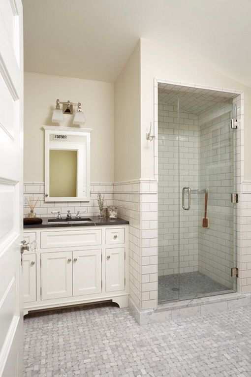 Small White Tiles in Classic Bathroom - love this bathroom - esp. the shower. so simple and clean!