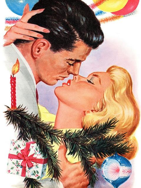 Illustration by Bernard Stevens for the story The Gift Of Love, December 1959. #vintage #couple #romance #1950s #Christmas