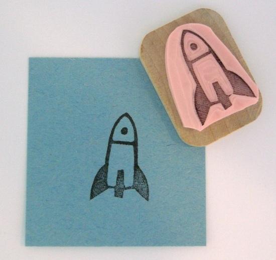 Rocket Hand Carved Rubber Stamp