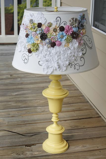 decorated lampshade and spray painted lamp base.