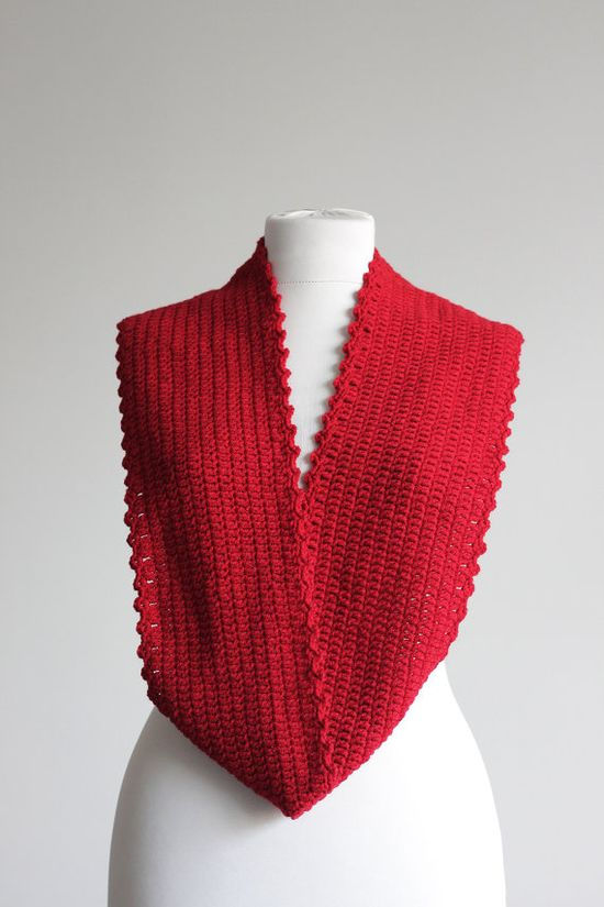 Red Infinity Crochet Scarf cowl loop scarf Fall by SENNURSASA, $25.00 with coupon
