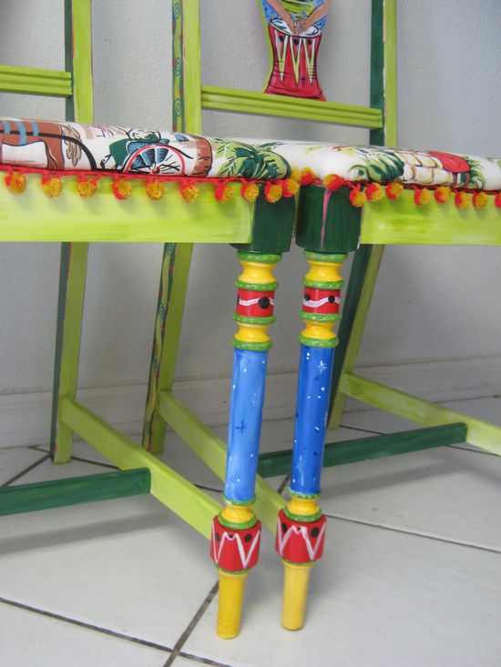 hand painted  furniture art chair tropical colorful recycled wood pair art chairs. $400.00, via Etsy.