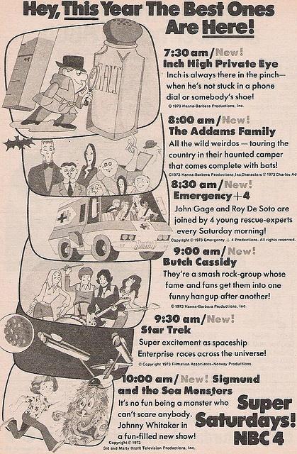 NBC Saturday Morning Cartoons ad, 1973