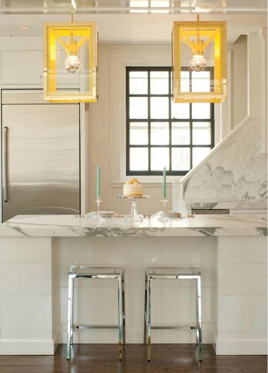 white marble kitchen...love the lighting!