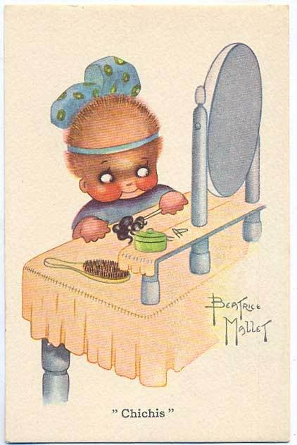 art Beatrice MALLET Advertising 1920s postcard Makeup