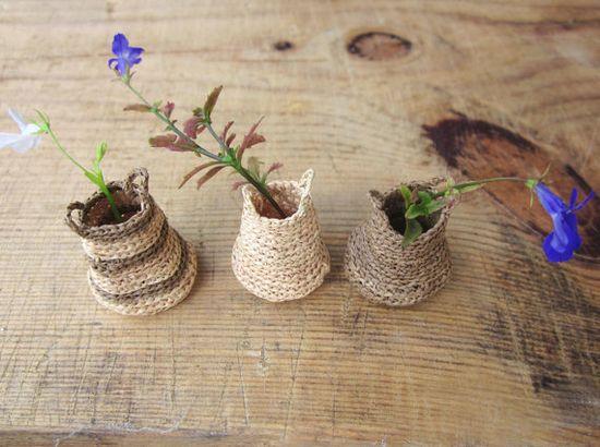 Miniature elf's baskets kitchen decor home decor natural by plad