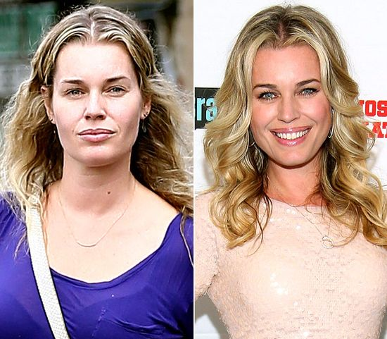 Rebecca Romijn  On left: leaving a nail salon in Woodland Hills, Calif. on Oct. 18, 2012  On right: attending the Most Talkative: Stories From The Front Lines of Pop Culture book release party in West Hollywood on May 14, 2012