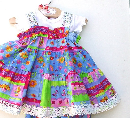 Colorful Cotton Baby Dress Infant size 3 6 9 12 18 months, Baby Girl Clothes Blue Party Twirl Dress, Children's Clothes Fall Kid's Clothing ($39.00) - Svpply