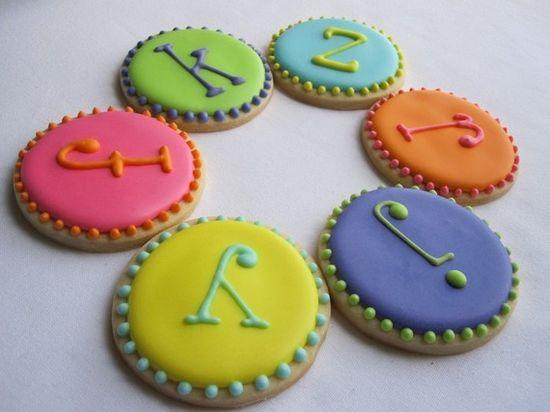 Monogramed sugar cookies.