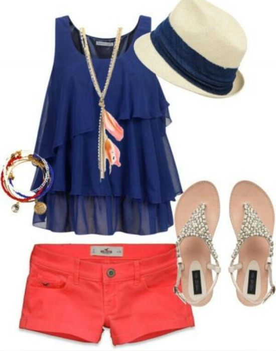 Summer outfit... Blue and red