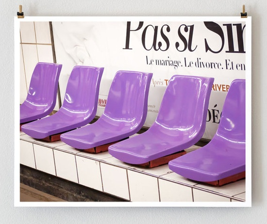Purple Metro Chairs Paris  16x20 Fine Art by littlebrownpen, $75.00