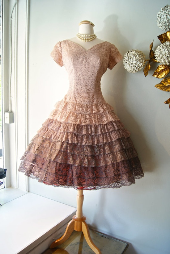 1950s Dress // Vintage 50s Ombré Lace Dress M by xtabayvintage, $298.00