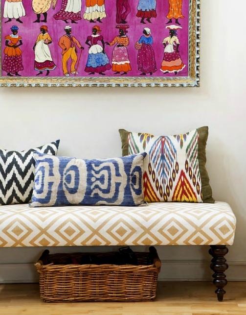 pillows, bench and art