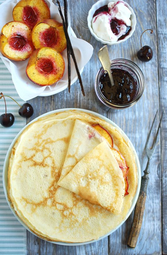 Crepes with Spiced Peaches, Cream and   Cherry Preserve