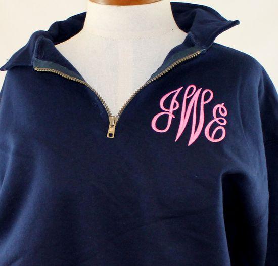 Monogram Sweatshirt 1/4 zip Personalized Preppy Sweater. $38.00, via Etsy.