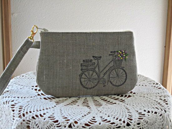 Handstamped Linen Wristlet  Clutch Zipper by Antiquebasketlady, $12.99 #retro #bicycle #embroidery