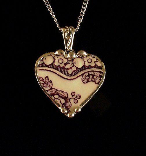Broken china jewelry antique purple plum mulberry English transferware heart pendant necklace