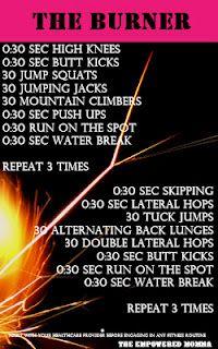 Under 30 minutes workout: The Burner
