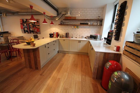 #office #design #kitchen #grey #wood panelling #marble #worktop #red #tiles