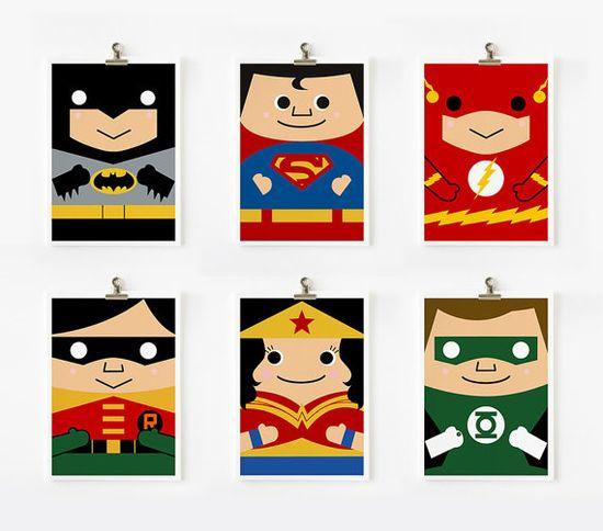Super Hero Justice League art print 5 x 7 set of 6 by loopzart, $42.00