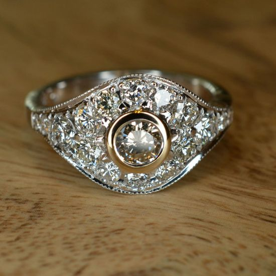 Art Deco Champagne Diamond Engagement Ring 18k White and by JdotC, $2250.00