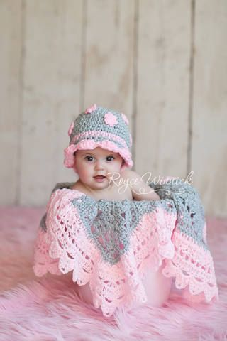 Gray Hat with  Pink Flowers  Hat Baby Photography Prop Sizes Preemie, Newborn, 0-3 months, 3-6 months. $18.99, via Etsy.